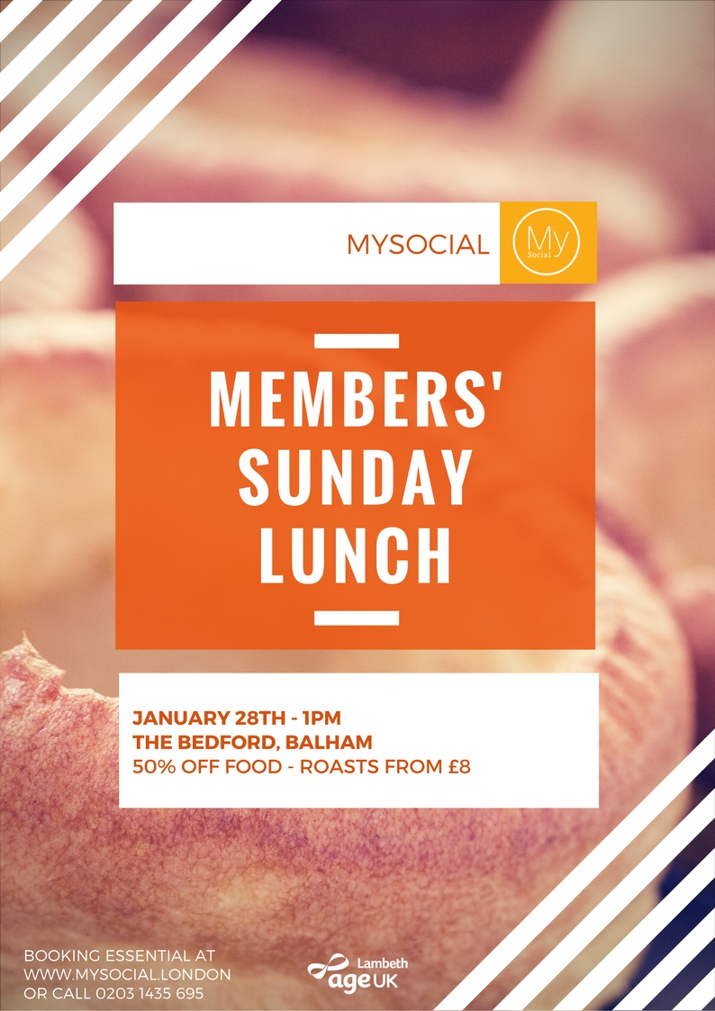 Members' lunch. Jan 28th, The Jam Tree, Clapham, 1PM. Click for more details