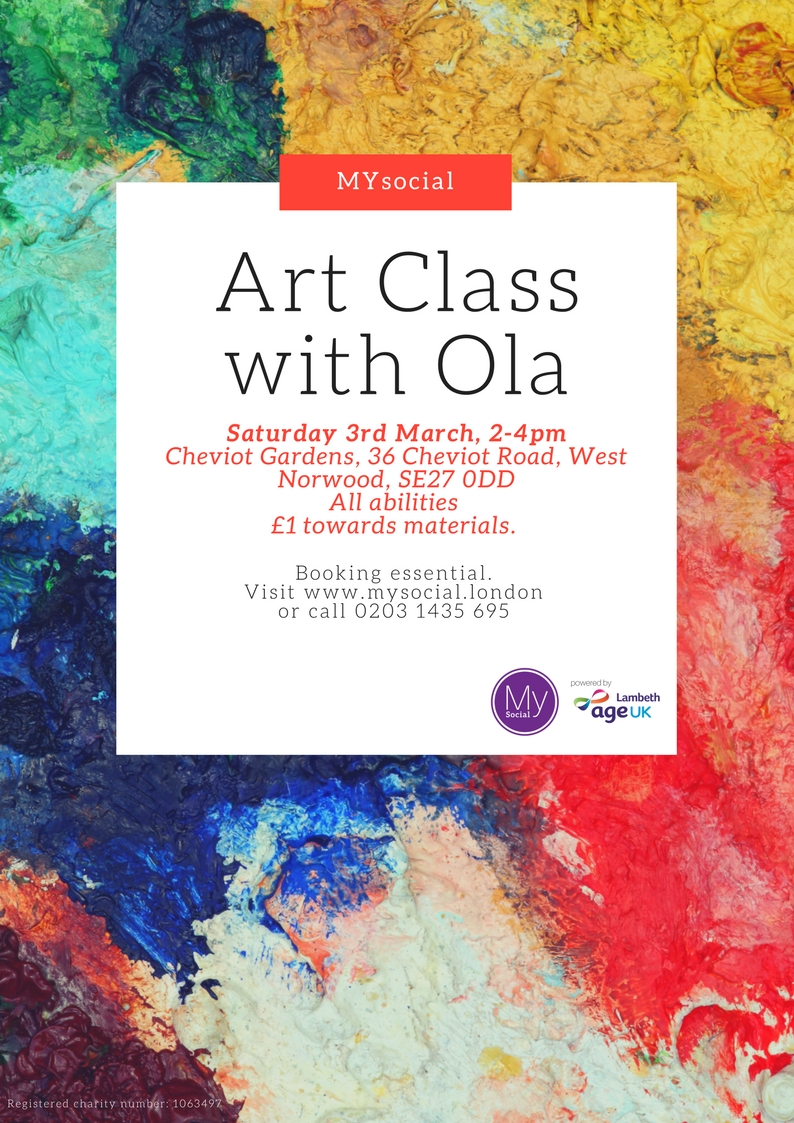Art Class with Ola, 3rd March, 2-4pm, click for more details