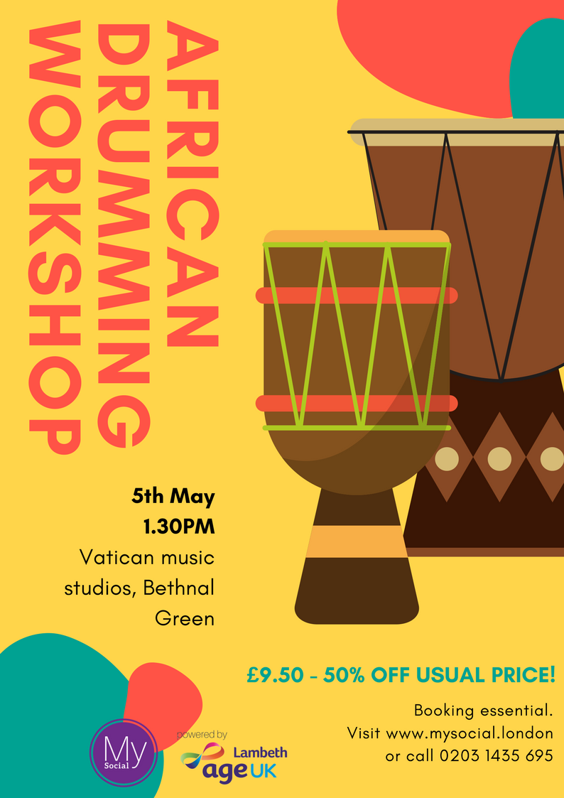 African Drumming Workshop, 5th May, 1.30pm, Bethnal Green, £9.50 click for details and booking
