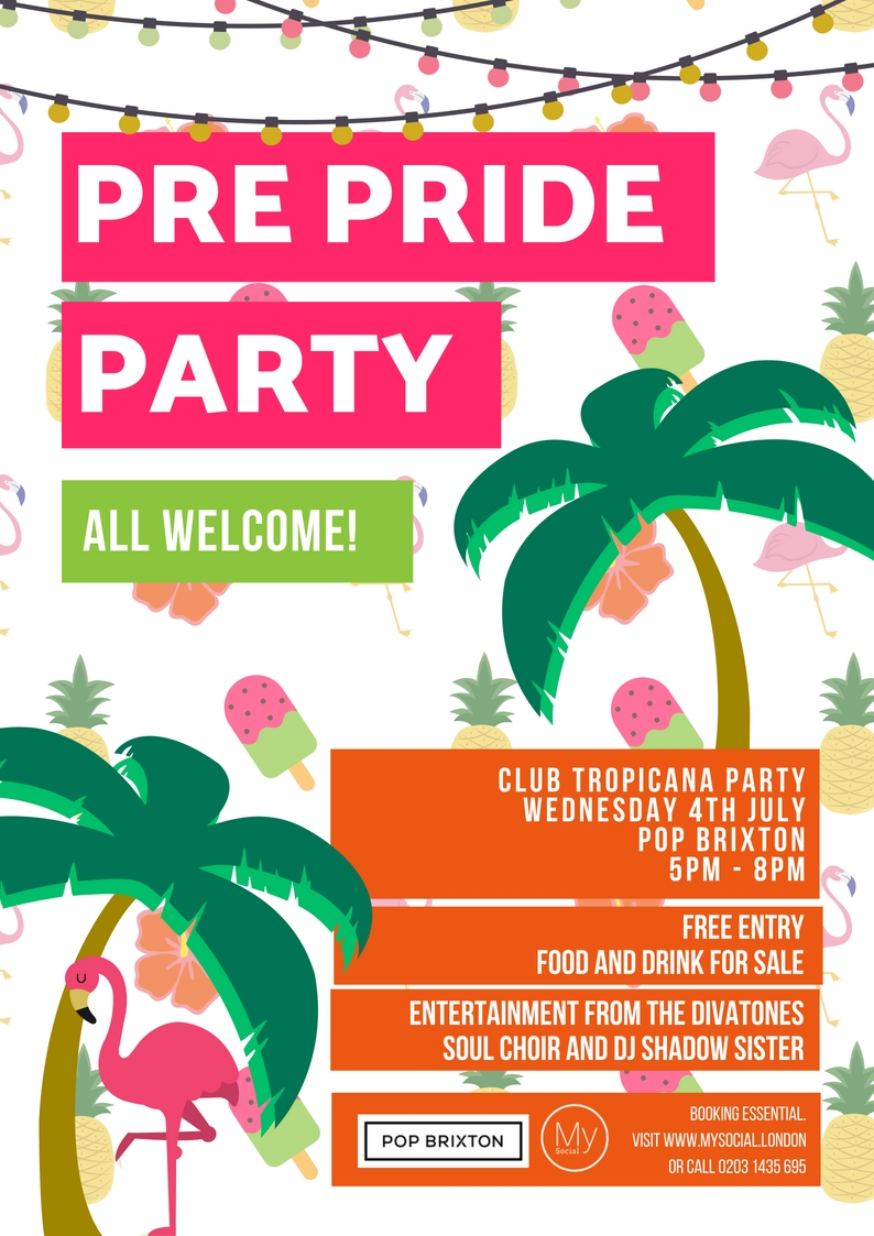 Pre-pride club tropican party, 4th july, click for more details