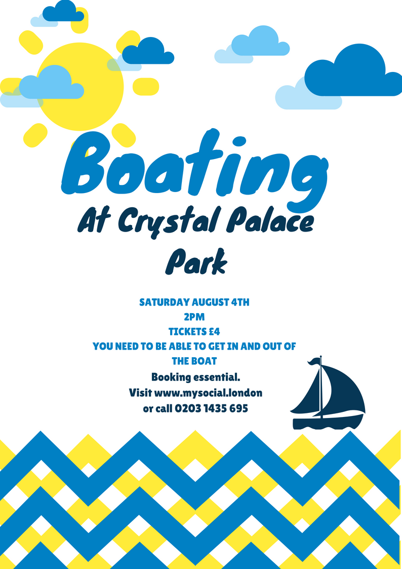 Boating at Crystal Palace, 4th August, 2pm, £4, click for more details