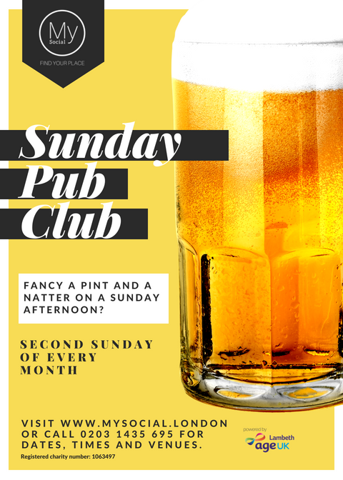 Pub club, second sunday of every month in different affordable pubs around the borough. Click to go to our calendar