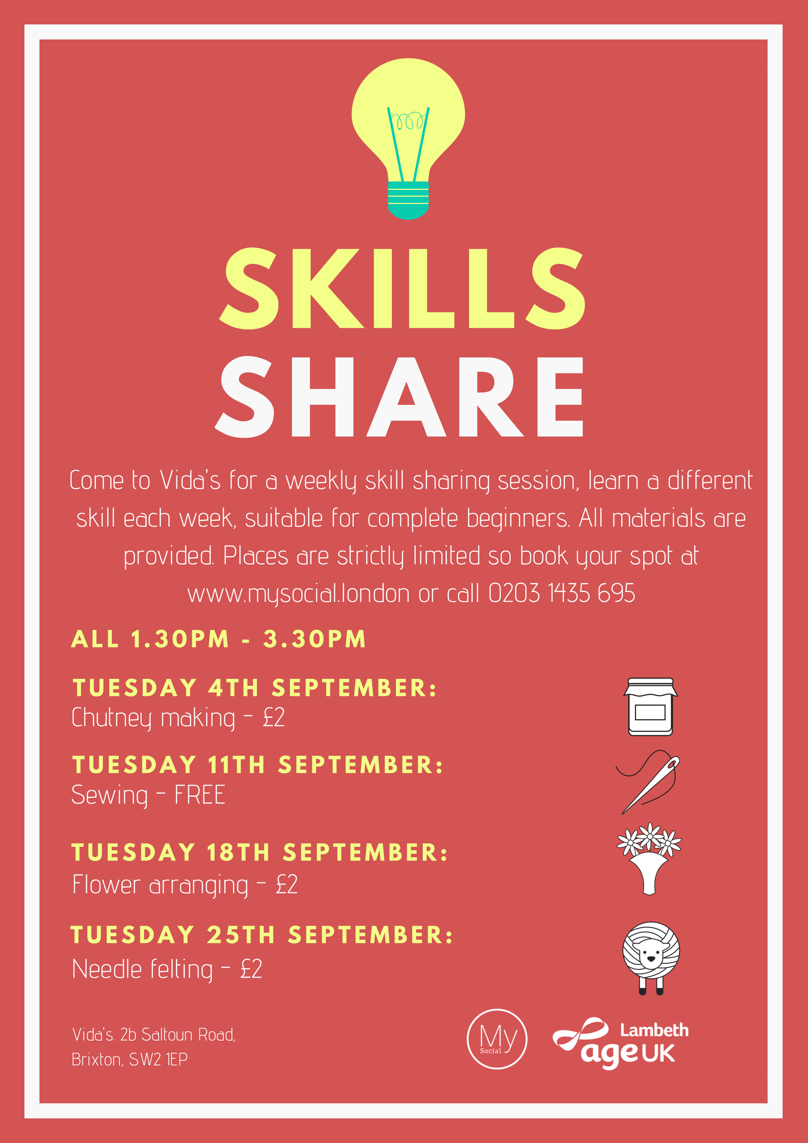 Skills share, every Tuesday afternoon starting in September. Chutney making, sewing, flower arranging, needle felting in september. Click for details of the first session.