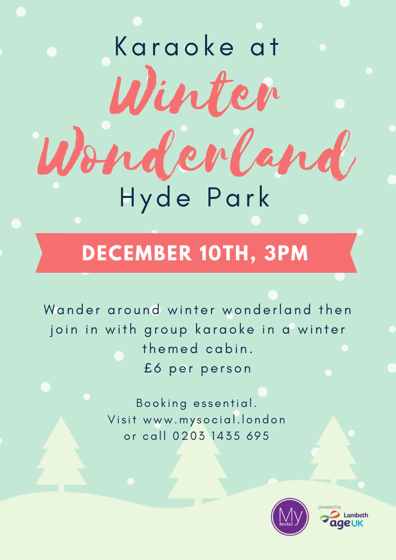 Karaoke at winter wonderland, hyde park. December 10th, 3pm. £6 per person. Wander around winter wonderland then join in with karaoke in a winter themed cabin. Booking essential, click for more details.