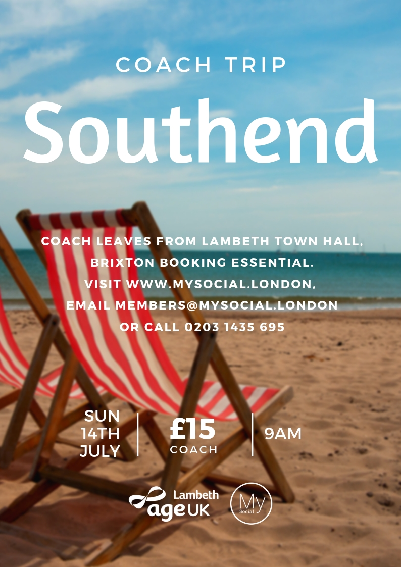 Day trip to Southend, Sun 14th July, £15 coach ticket, leaves lambeth town hall at 9am