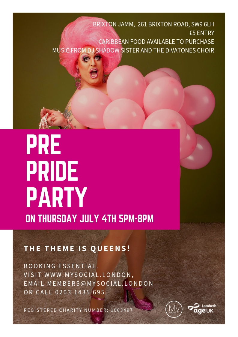Pre-Pride Party at Brixton Jamm, 4th July, 5pm-8pm, £5, click for details and booking