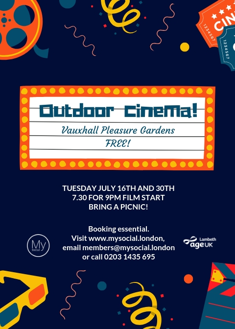 Outdoor cinema, vauxhall pleasure gardens, July 30th, 7.30pm, free, click for details and booking